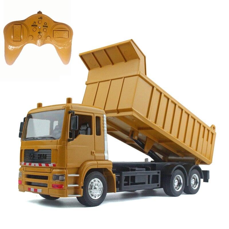 Rc carros caminhão basculante brinquedos para crianças meninos natal presentes de aniversário cor amarela rc caminhão de engenharia modelo praia brinquedos transportador