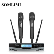 SOM SKM9100 Bühne Performance Hause KTV Hohe Qualität UHF Professional Dual Wireless Mikrofon System Dynamische Fern