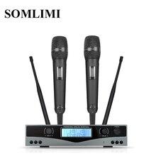 SOM SKM9100 Performance de scène maison KTV haute qualité UHF professionnel double système de Microphone sans fil dynamique longue Distance