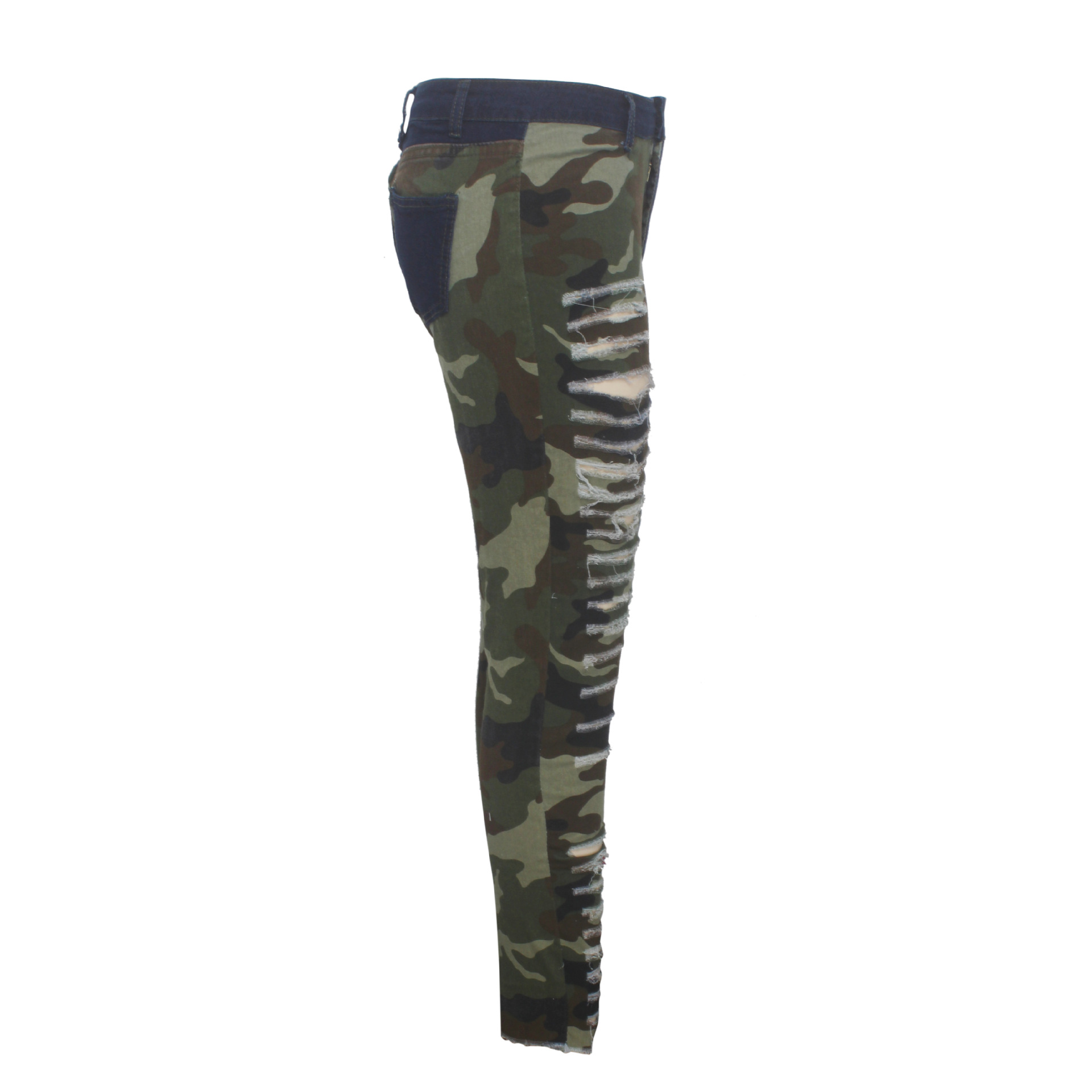 2019 New Autumn Winter Female Denim Pants Women Skinny Hole Spliced Camouflage Print Jeans Sexy pencil Bandage Trousers HSF2096 6