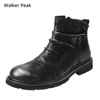 Big Size 38 52 100% Genuine Leather Mens Boots Chelsea Fashion designer Warm Winter shoes Brand waterproof Ankle snow boots men