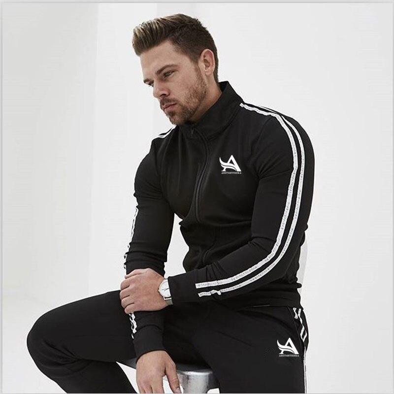 Male Tracksuit Asia Size New Men's Set Spring Autumn Man Sportswear 2 Piece Sets Sports Suit Jacket+Pant Sweatsuit