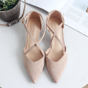 Image 4 - 5cm High Heels Shoes Woman Cross Tied Flock Pointed Toe Thin Heels Pumps Shoes Female Nude Elegant Sandals Party Wedding Shoes