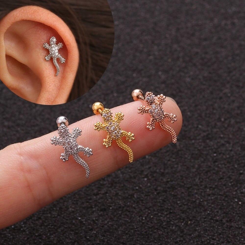 Brinco de piercing de orelha, 1 peça, brinco de cartilagem, lagarto, helix, tragus, conch, brinco traseiro