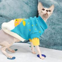 Ropa con patrón de moda para gatos, Linda sudadera de Reno para gato Sphinx, disfraz cálido de invierno para Kindi, sudadera de tejido de punto Mascotas