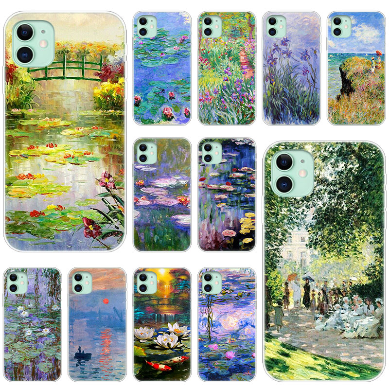 Hot Claude Monet Garden Lotus Bridge Soft Silicone Case for Apple iPhone 11 Pro XS Max X XR 6 6s 7 8 Plus 5 5s SE Fashion Cover