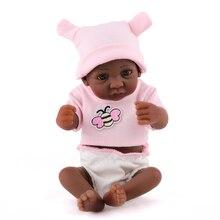 Volle Silikon Rebron Baby Puppen Schwarz Afrika Neugeborenen schwarz mädchen 11inch 28cm Realistische Kinderspielkameraden Bebes Reborn Mode spielzeug