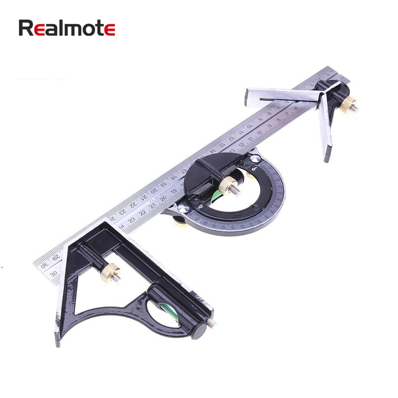Realmote 300mm 12inchMeasuring 3 In1 Adjustable Ruler Multi Combination Square Angle Finder Protractor Tools Ruler