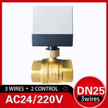DN25  AC220V /24V  2 way brass valve Motorized ball valve Electric ball valve electric actuator DN15 DN20 DN25 DN32 DN4 motorized ball valve 3 4 dn20 ac220v 2 way stainless steel 304 electric ball valve cr03 wire