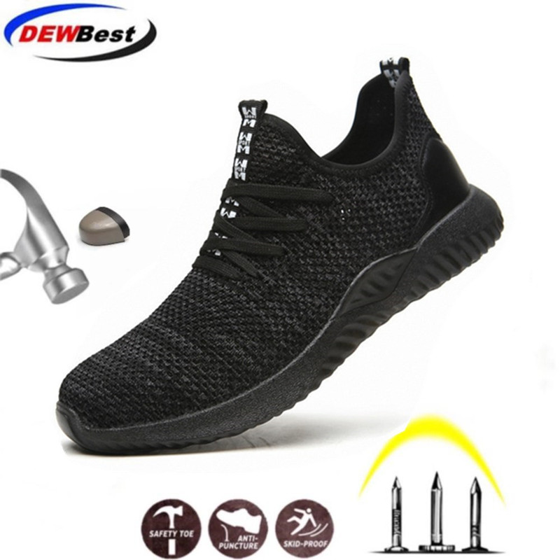 DEWBEST Work Labor Shoes Breathable Stylish Sports  Safety Protection Shoes, Safety Boots Shoes For Men