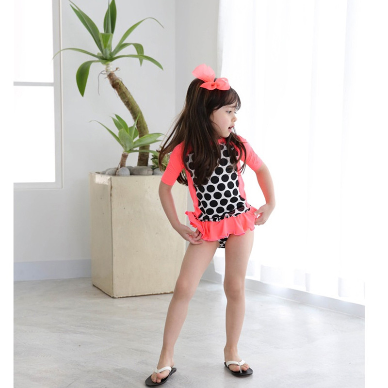2019 New Products Girls Split Type Sun Protection Clothing Dotted Three-piece Set Hooded KID'S Swimwear Girls Split Type
