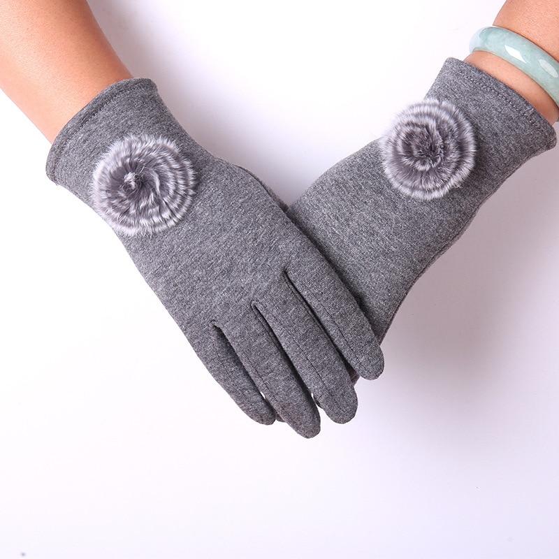 Non-fleece Women's Winter Gloves Plus Velvet Warm Sleeves with Flowers Full-finger Split-finger Cycling Gloves Tactile Gloves