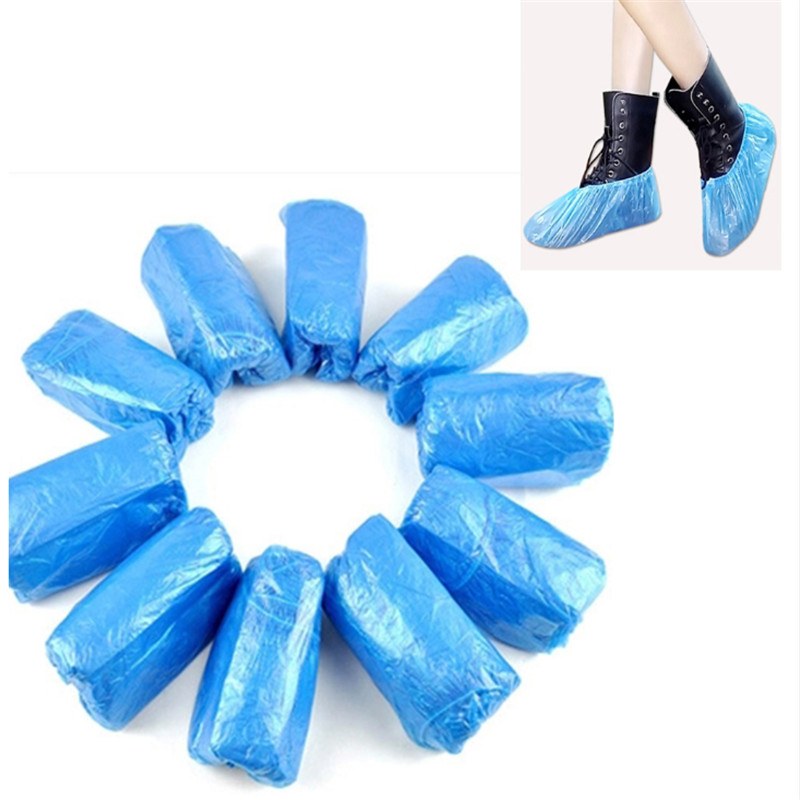 6Pcs Plastic Waterproof Disposable 15g Shoe Covers Rainy Day Carpet Floor Protector Thick Cleaning Shoe Cover Blue Overshoes