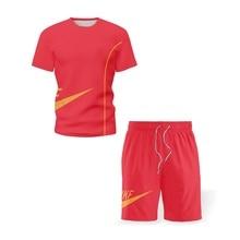 2021 Summer New Men s Sets Solid Color O Neck Men T Shirt Drawstring Shorts Casual Sweatshirts Clothing 2 Piece Sportswear S 5XL