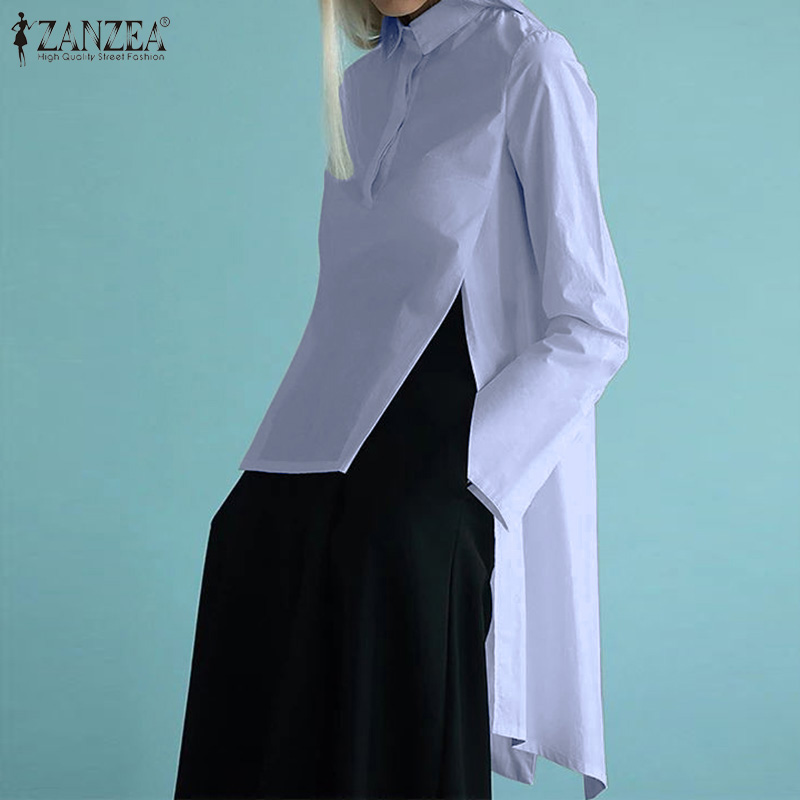ZANZEA 2020 Women's Irregular Tops Elegant Summer Blouse Lapel Blusas Female Split Tops Long Sleeve Casual Shirts Oversized 5XL