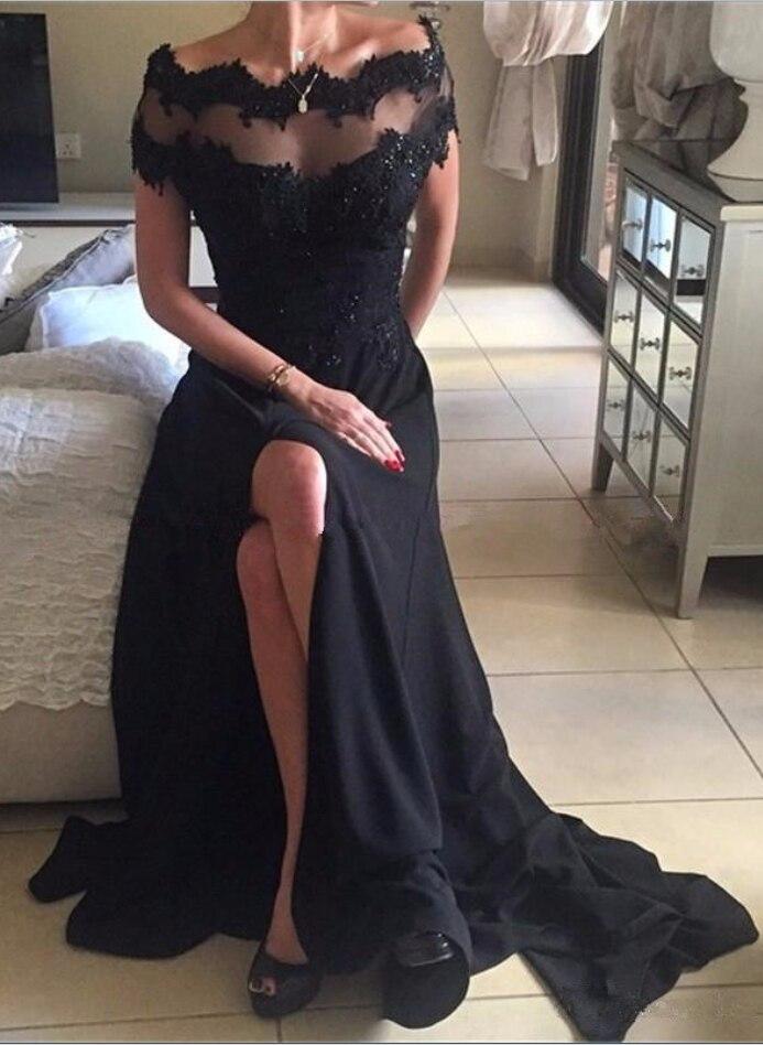 Off Shoulder Long Formal   Evening     Dresses   Black Boat Neck Chiffon With Lace Vestido De Fiesta Largos De Noche Elegante 2019