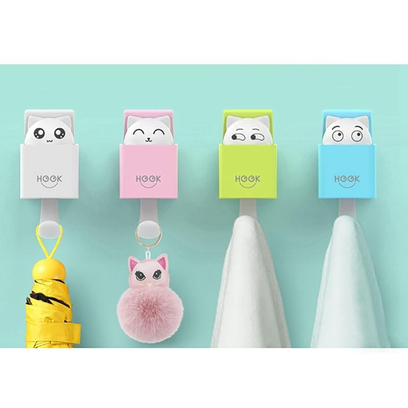 1 Pcs Strong Adhesive Hooks Multi Function Bathroom Kitchen Hook Creative Cute Hidden Cat Wall Hanging Seamless Hooks Organizer