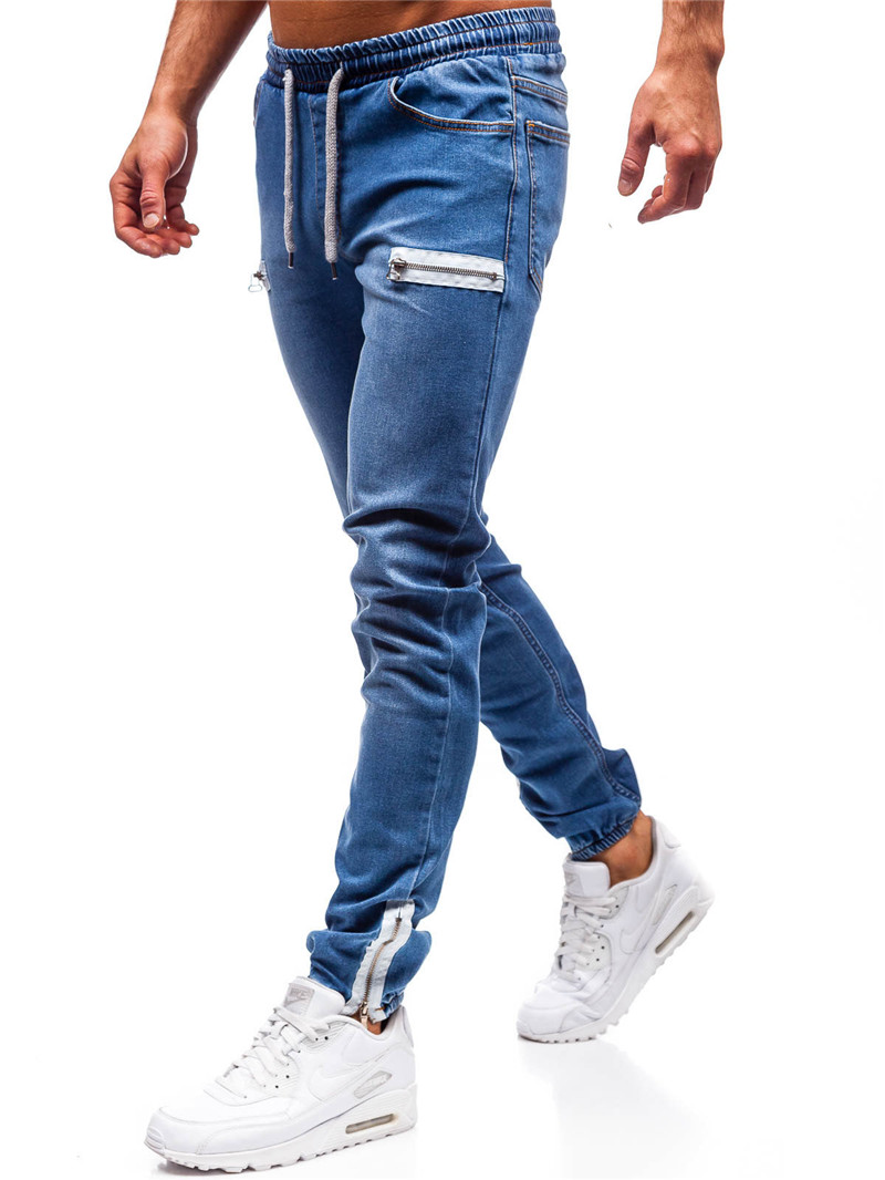 New Men Simple Slim Stretch Straight Jeans Male Blue Black Cotton Elastic Waist Casual Denim Cargo Jeans Pants Plus Size 3XL