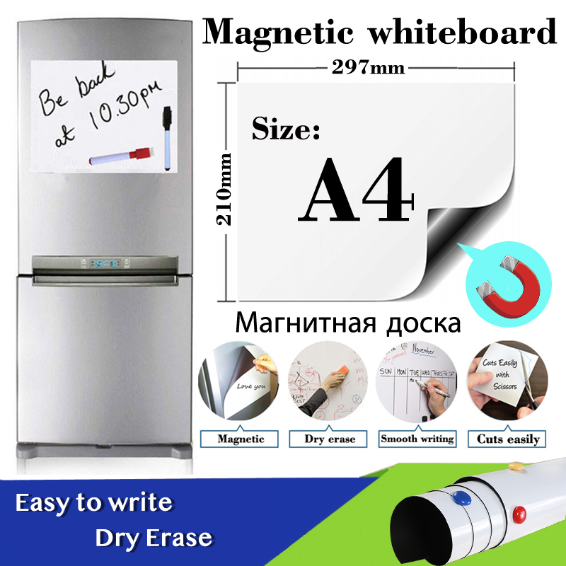 A4 Size Fridge Stickers Magnetic Whiteboard for Kids Dry Eraser White Board School Memo Boards Message Board with Marker Pen image