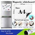 A4 tamanho geladeira adesivos quadro branco magnético para crianças borracha seca placa branca escola placas de memorando placa mensagem com caneta marcador