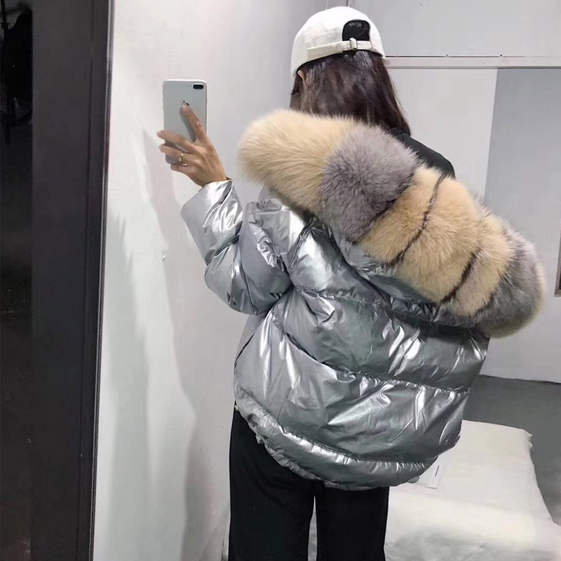 FTLZZ النساء جهين الفضة الذهبي بطة أسفل معطف الشتاء كبيرة الفراء الحقيقي طوق سترة مضادة للماء مقنعين الثلوج قميص-في معاطف قصيرة من ملابس نسائية على  مجموعة 3