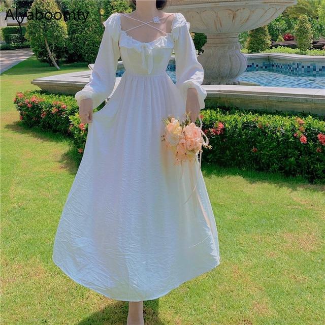 Long White Fairy Princess Dress Elegant Long-Sleeve 2