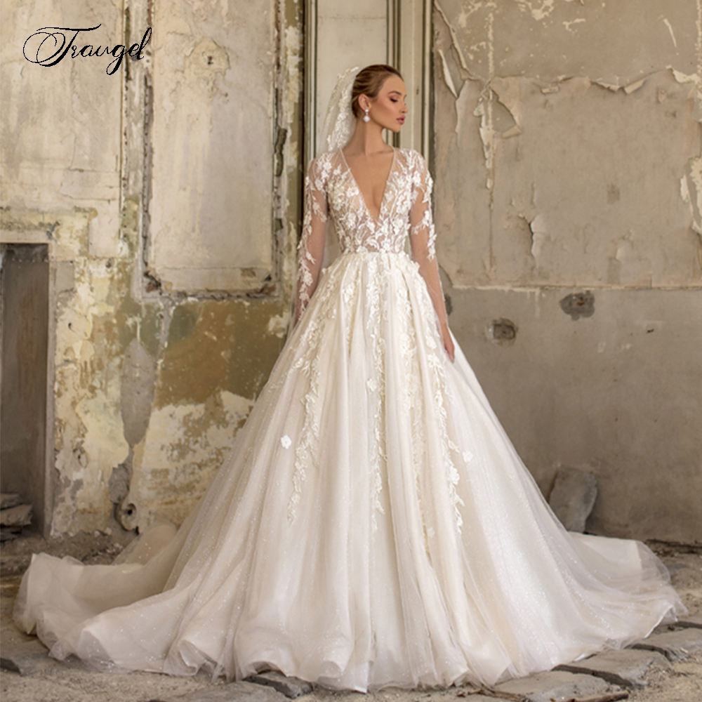 Traugel Elegant V-Neck A Line Lace Wedding Dresses Glitter Applique Long Sleeve Bride Dress Chapel Train Bridal Gown Plus Size