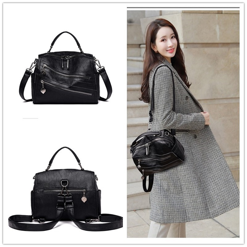 ZDG Handbags Women 2020 Fashion Genuine Leather Women Bag  Zip Pocket Big Capacity Women Bag H19-011