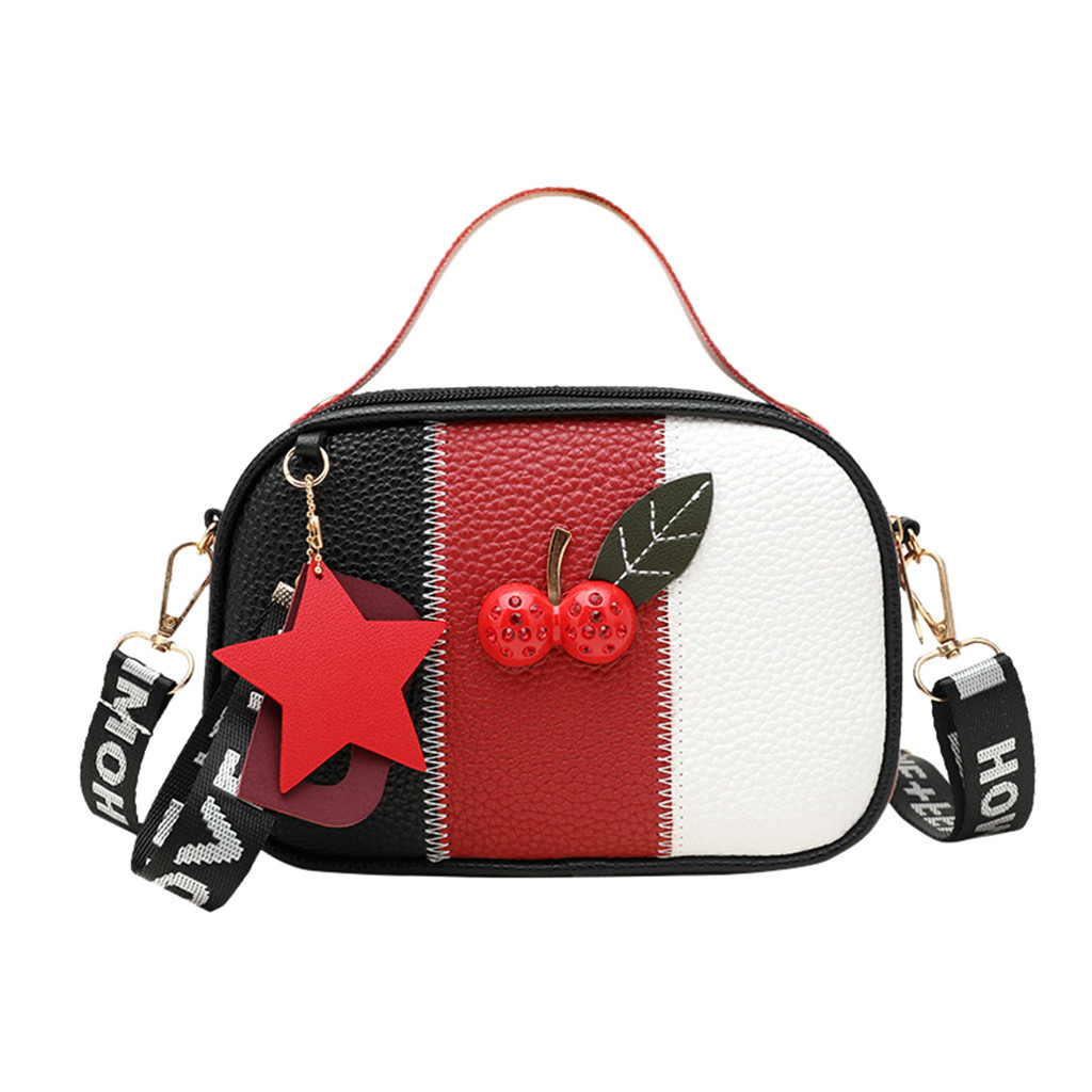 Fashion Casual Mixed Colors  Messenger Crossbody Bag Handbag Shoulder Bags Beach Bag Single Should Bags Cherry Tote Crossbody