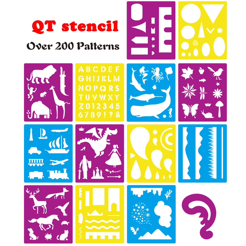 14 Pcs Color Plastic Painting Stencils Set Craft Educational Toys For Kids - Over 150 Patterns Drawing Template Stencils