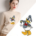 Дисней мультфильм патчи для одежды Дональд Дак большая вышивка мультфильм шаблон вышитые одежды Diy патч Женская одежда