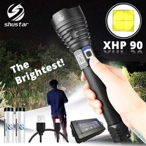 Image 1 - De helderste XHP90 LED Zaklamp Tactische waterdichte Torch 3 Verlichting modes Zoomable Jacht camping lampen Door 18650 of 26650