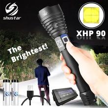 Lanterna led xhp90 mais brilhante, tática à prova dágua 3 modos de iluminação, com zoom, para caça, para acampamento, de 18650 ou 26650