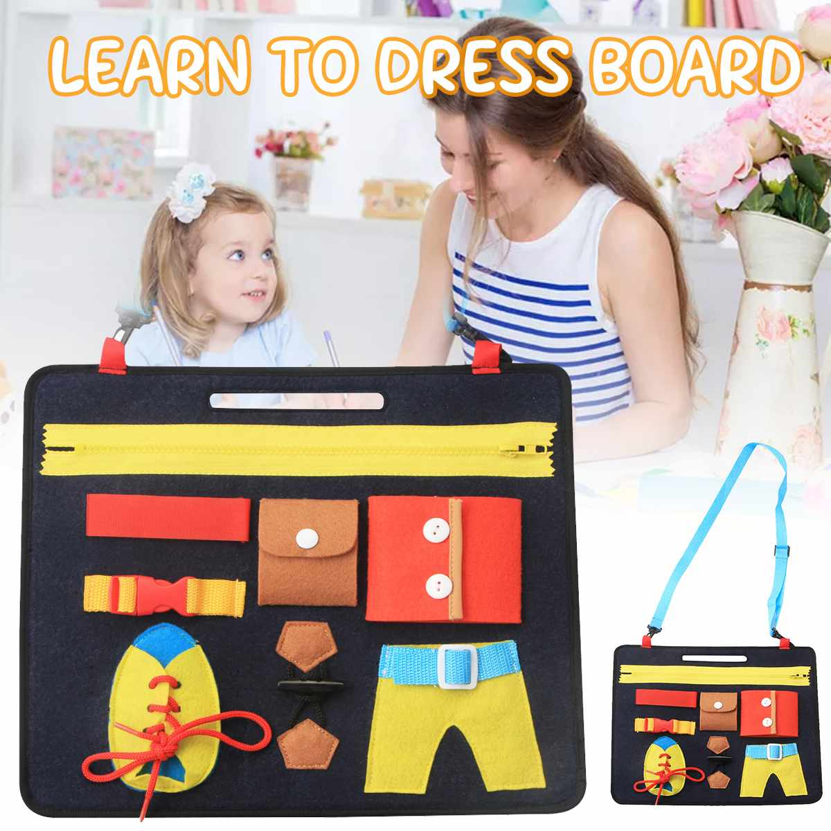 Kids Busy Board Buckle 1-5 Years Old Toy Zip Button Lace Up Color Montessori Early Education Dress Aids Preschool Toys For Kids