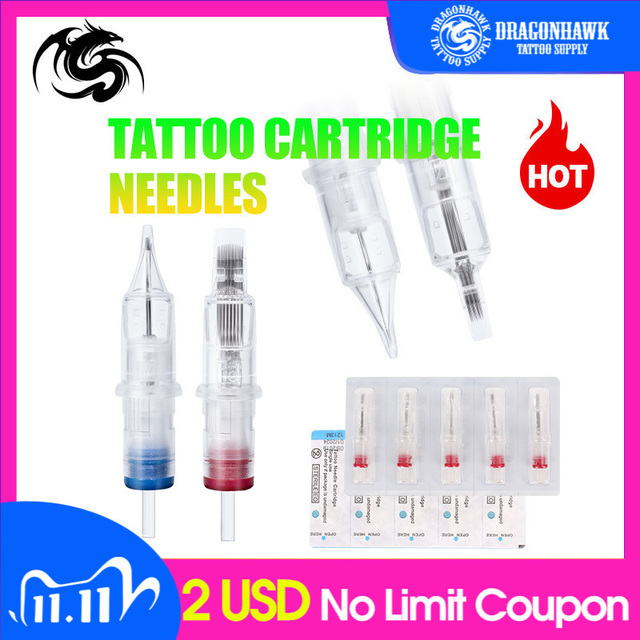 Hot Sale 10pcs Disposable Semi Permanent Makeup Tattoo Cartridge Needle RL Tattoo Gun Supplies 1RL/3RL/5RL/7RL/9RL/11RL 0 10