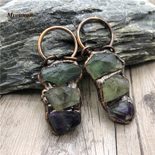 Retro Soldered Fluorite Necklace Pendants Green Crystal Quartz Antique Copper Loop Healing Stone Charms MY210425