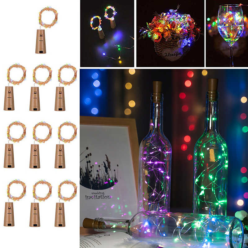 Include battery 2M 20 LED String Light Wine Bottle Lights Cork Garland Wire Fairy Lights for Glass Craft Christmas Decoration