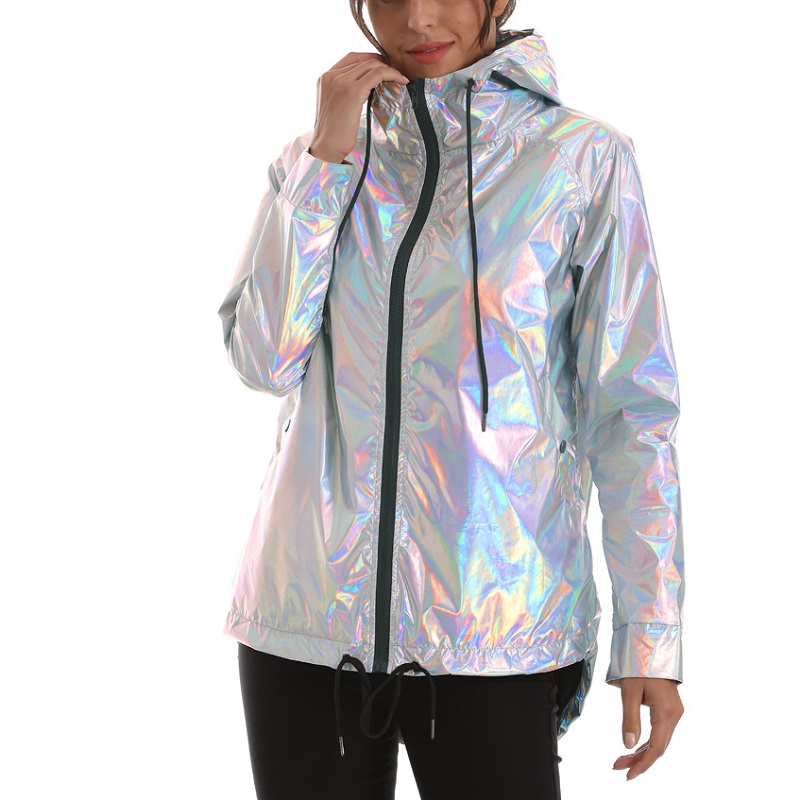 Bomber Jacket New Women's Jackets Womens Outerwear Hooded Spring Coat Femme Zip Up Waterproof Jackets Metallic Color