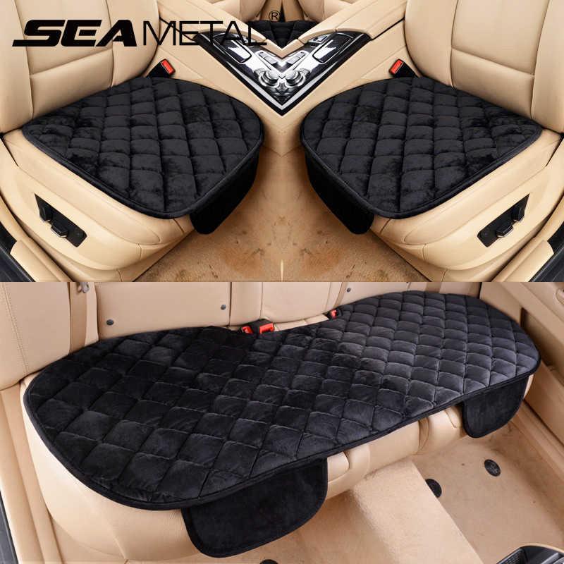 車のシートカバー冬暖かいベルベットユニバーサル自動車シートは、クッションカバーフロントリア椅子プロテクターシートパッドマットアクセサリー