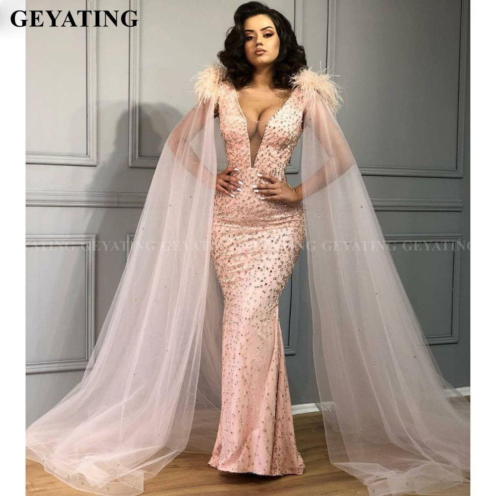 Sexy V-Neck Mermaid Pink Feather Evening Gowns With Cape Sleeves Arabic Formal Dresses 2020 Elegant Crystal African Prom Dress