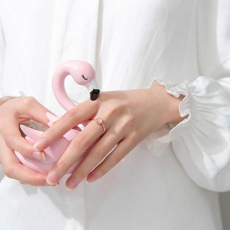Розовое Золотое кольцо в форме сердца для женщин, 925 пробы Серебряное кольцо с регулируемым размером, 2019 Опаловый камень, Штабелируемый костяшка, корейское кольцо