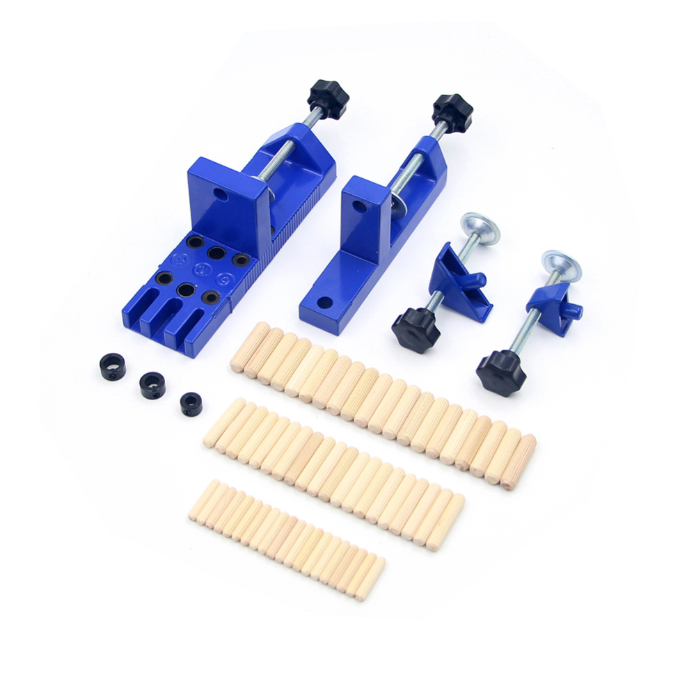 Universal Dowelling Jig Set With Aligning Clamps Dowel Pins Depth Stop Collars Wood Board Connection Drill Locator Blue