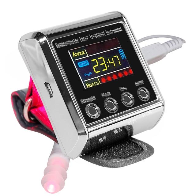 Diodo de fisioterapia para uso doméstico, diodo com laser medidor de pulso para tratamento de hipertensão, diabetes, para uso doméstico LLLT 650nm 5