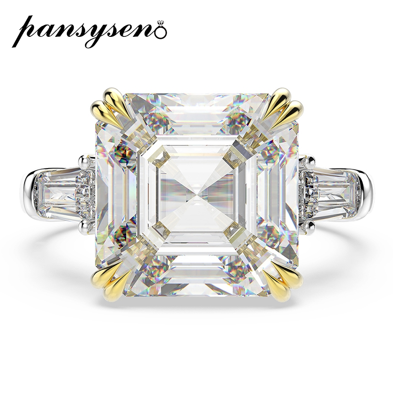 PANSYSEN Sparking 15ct Created Moissanite Wedding Engagement Rings For Women Solid 925 Sterling Silver Fine Jewelry Ring Gifts