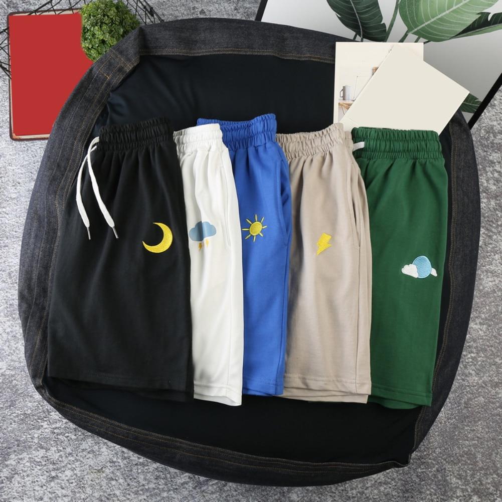 M-3XL Summer Running Shorts Men Sun Moon Quick Drying Drawstring Elastic Fifth Pants Board Sports Gym Shorts Pants Clothing 3