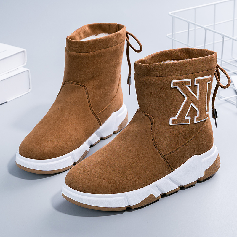 US $13.65 30% OFF|Femme Winter Boots Women Platform Shoes Snow Botines Mujer Women Shoes Women Sneakers Laarzen Dames Shoelace Botte Hiver in Mid Calf