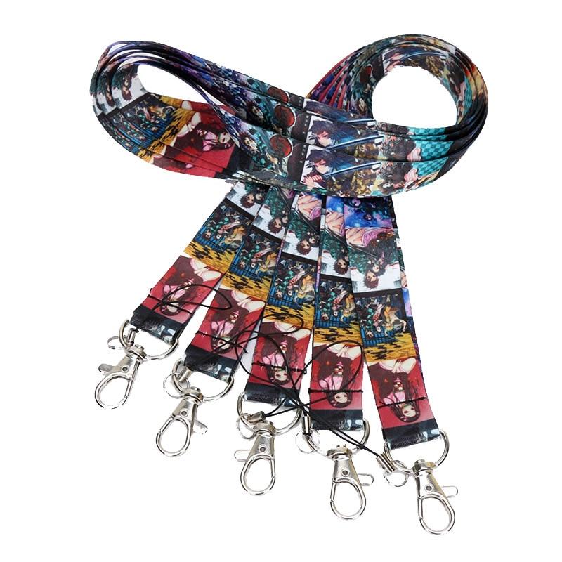 10pcs/set Anime Demon Slayer Cosplay Kimetsu No Yaiba Kamado Tanjirou Lanyard Hanging Keychain Toys