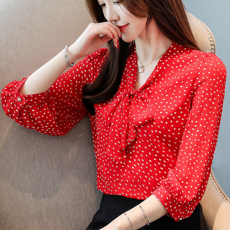 Women Spring Summer Style Chiffon Blouses Shirts Lady Casual Half Lantern Sleeve Polka Dot Printed Bow Tie Blusas Tops DF3113