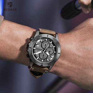 Image 4 - Ruimas ファッションクォーツは、男性の高級トップブランド腕時計クロノグラフ男革軍スポーツ腕時計 relogios masculino