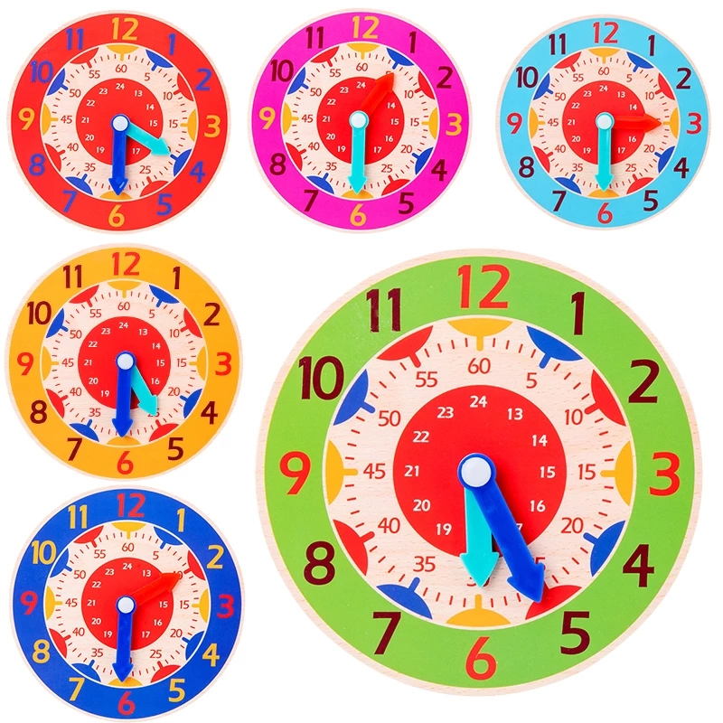Wood Little Clock Puzzle Toys for Children Kids Time Cognition Colorful Watch Toy Montessori Toys Early Learning Preschool Home
